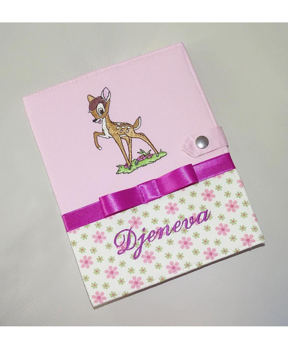 Protège carnet de santé bambi fille rigide personnalisé - Cadeau de naissance personnalisé - faon