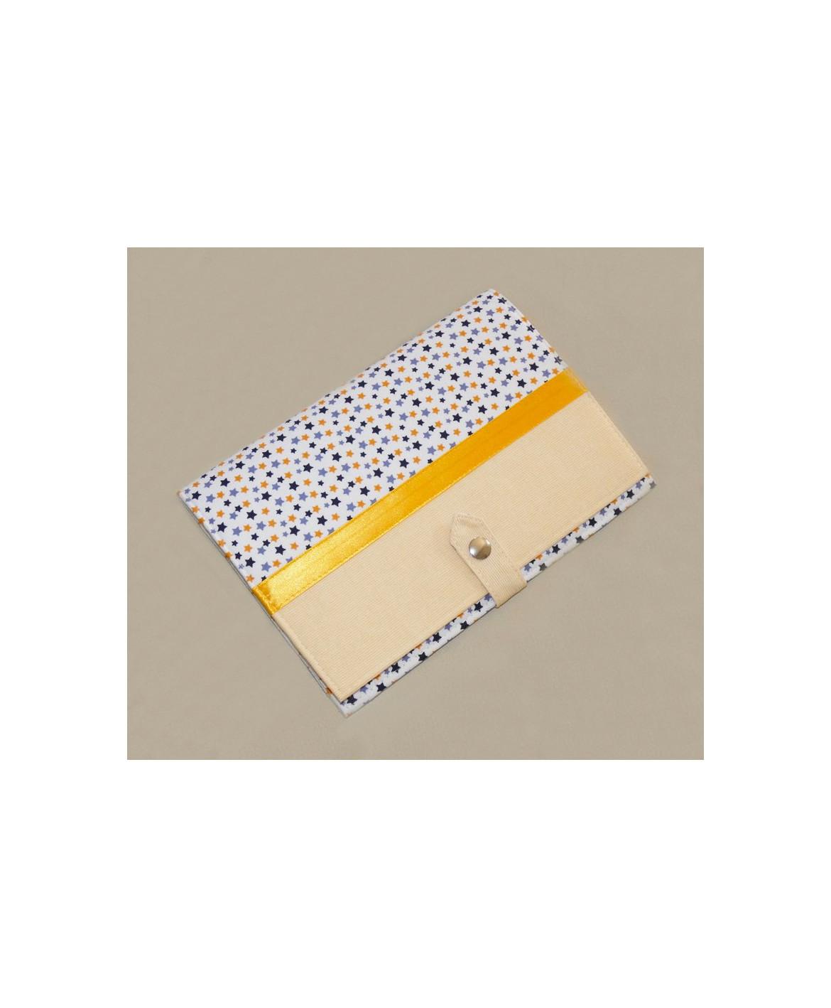 Pochette de rangement pour carnet de santé - étoiles multicolores