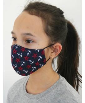 Masque en tissu pour enfant - lavable et réutilisable - étoiles de mer