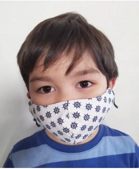 Masque en tissu pour enfant - Lavable et réutilisable - fille - garçon - thème marin