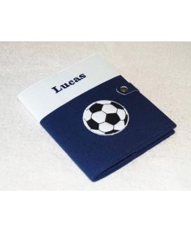 Protège carnet de santé rigide personnalisé - ballon de football - Cadeau de naissance garçon personnalisé