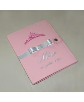 Protège carnet de santé rigide personnalisé rose - couronne - ruban gris argent - fille