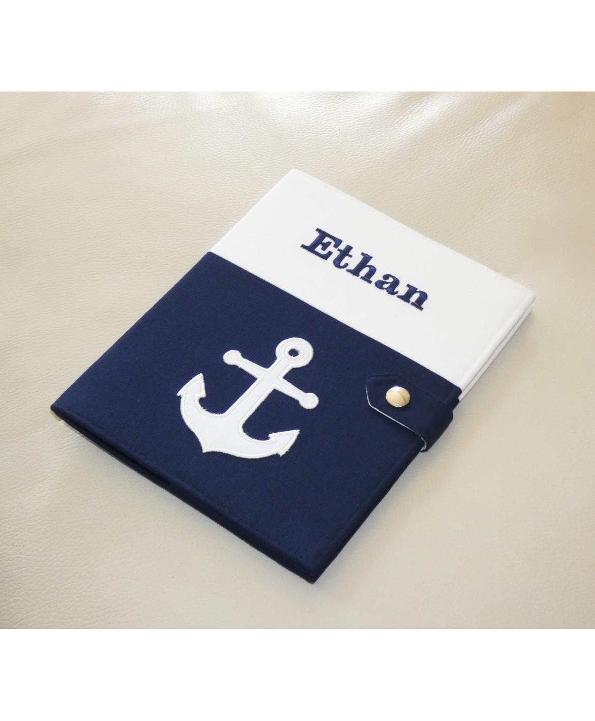Protège carnet de santé rigide personnalisé - Cadeau de naissance personnalisé - thème marin